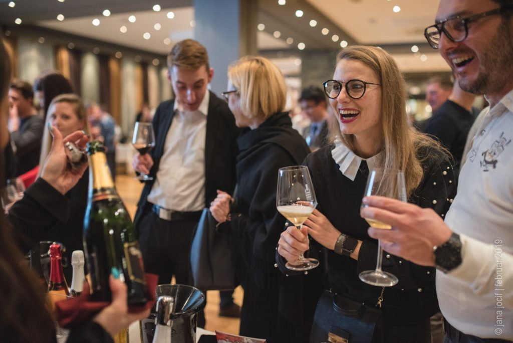 Wine enthusiasts at sparkling wine festival