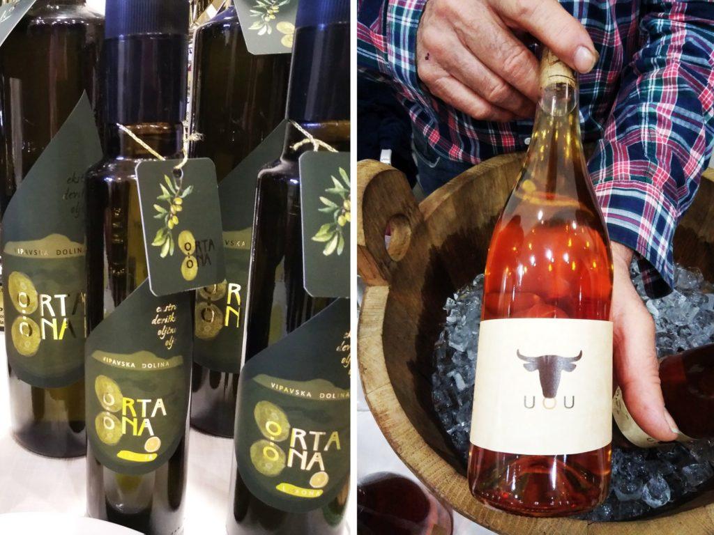 Bottles of olive oil and bottle of orange wine