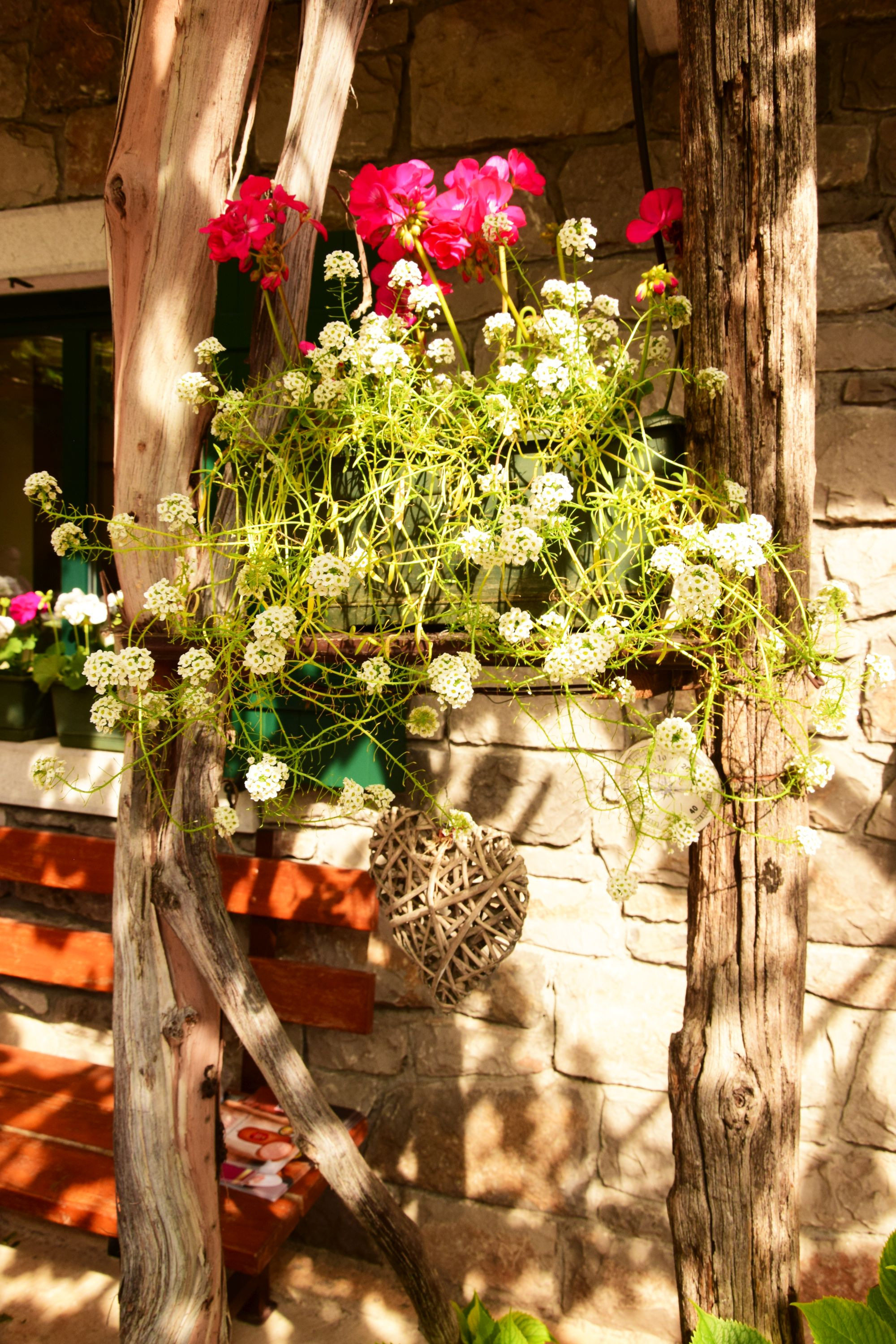Flower display in a winery courtyard