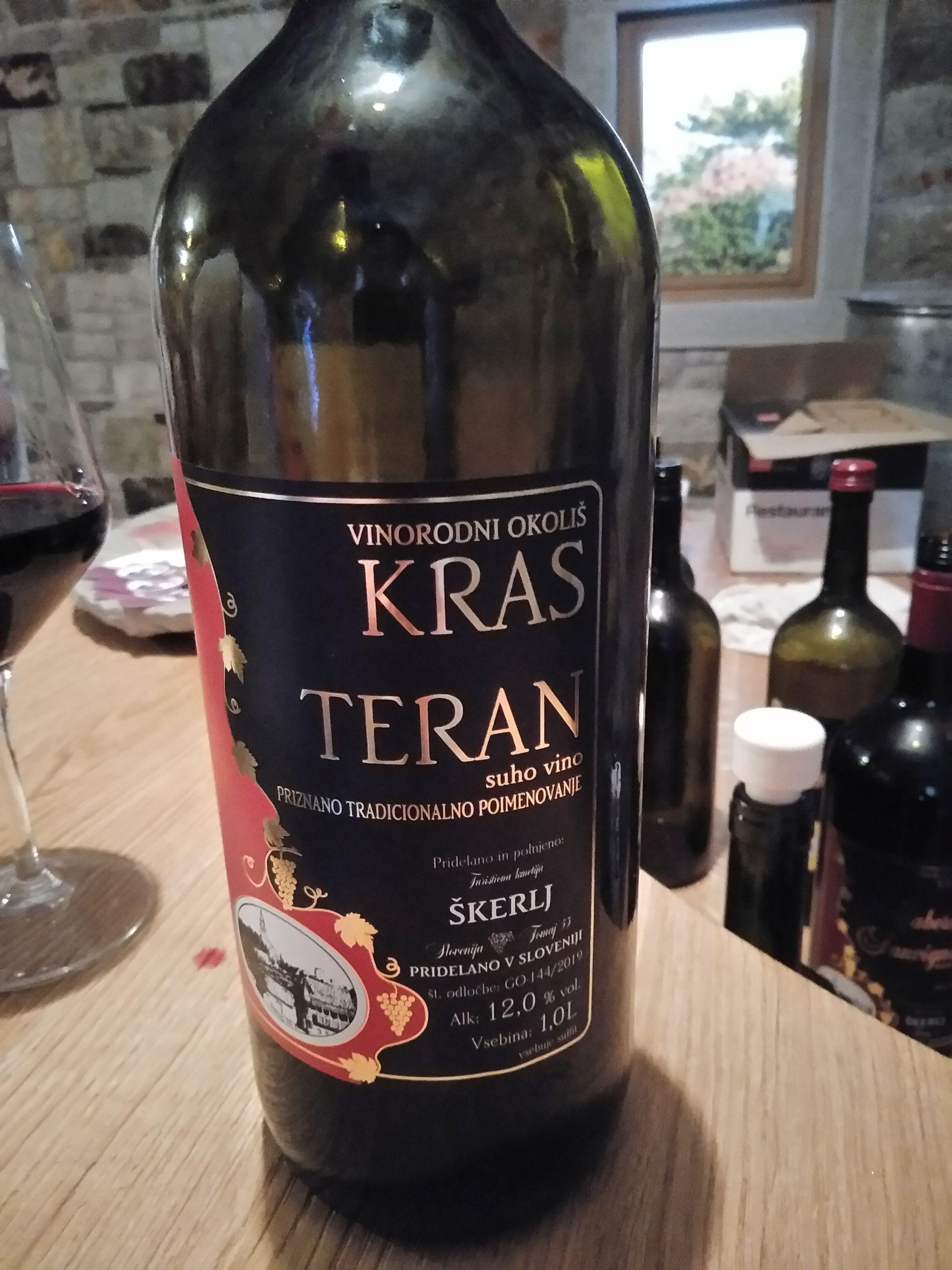 Bottle of red Teran wine