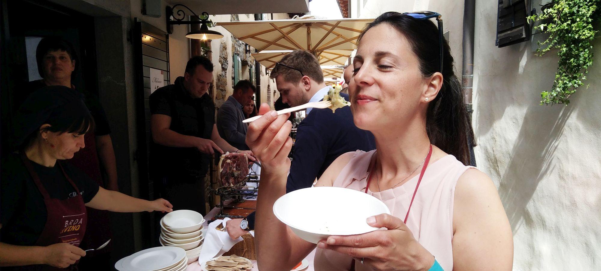 Denise of Wine Dine Slovenia enjoys some food at BRDA&VINO food and wine festival