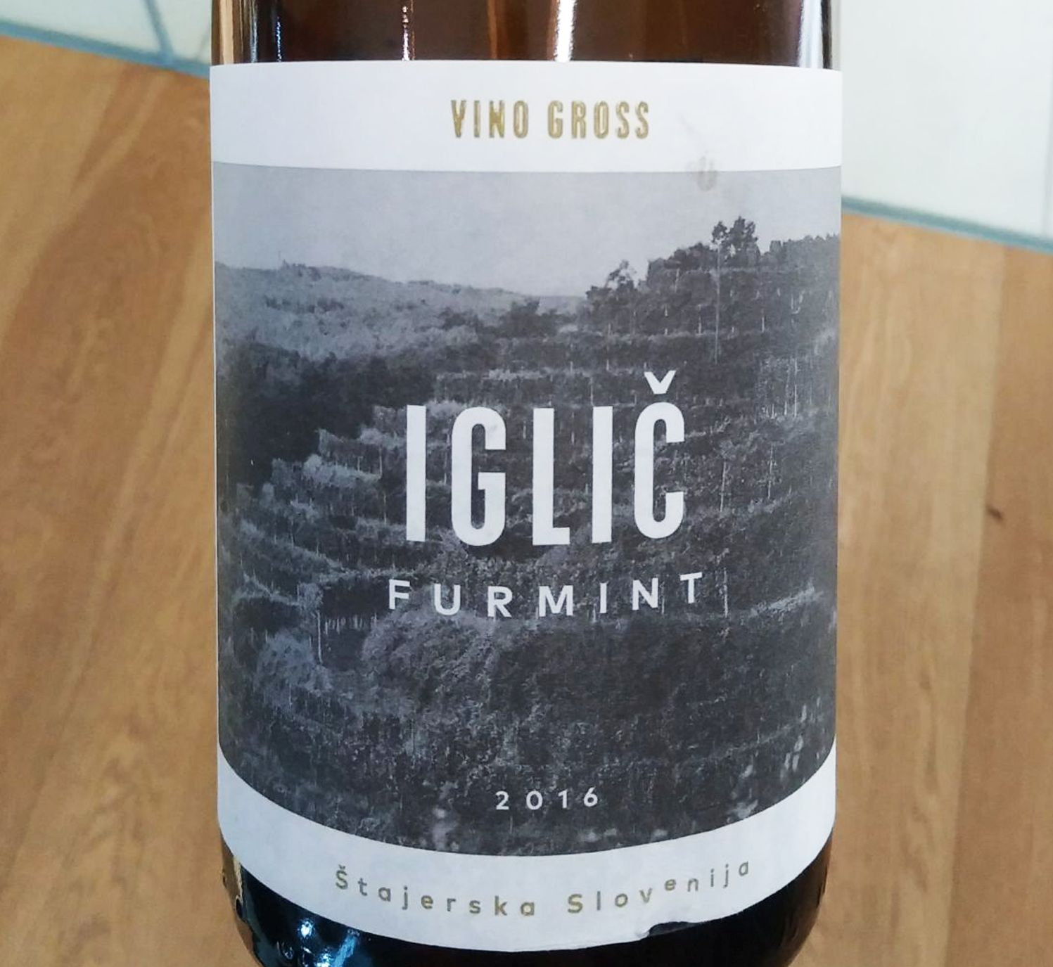 A bottle of Iglič Furmint 2016 wine