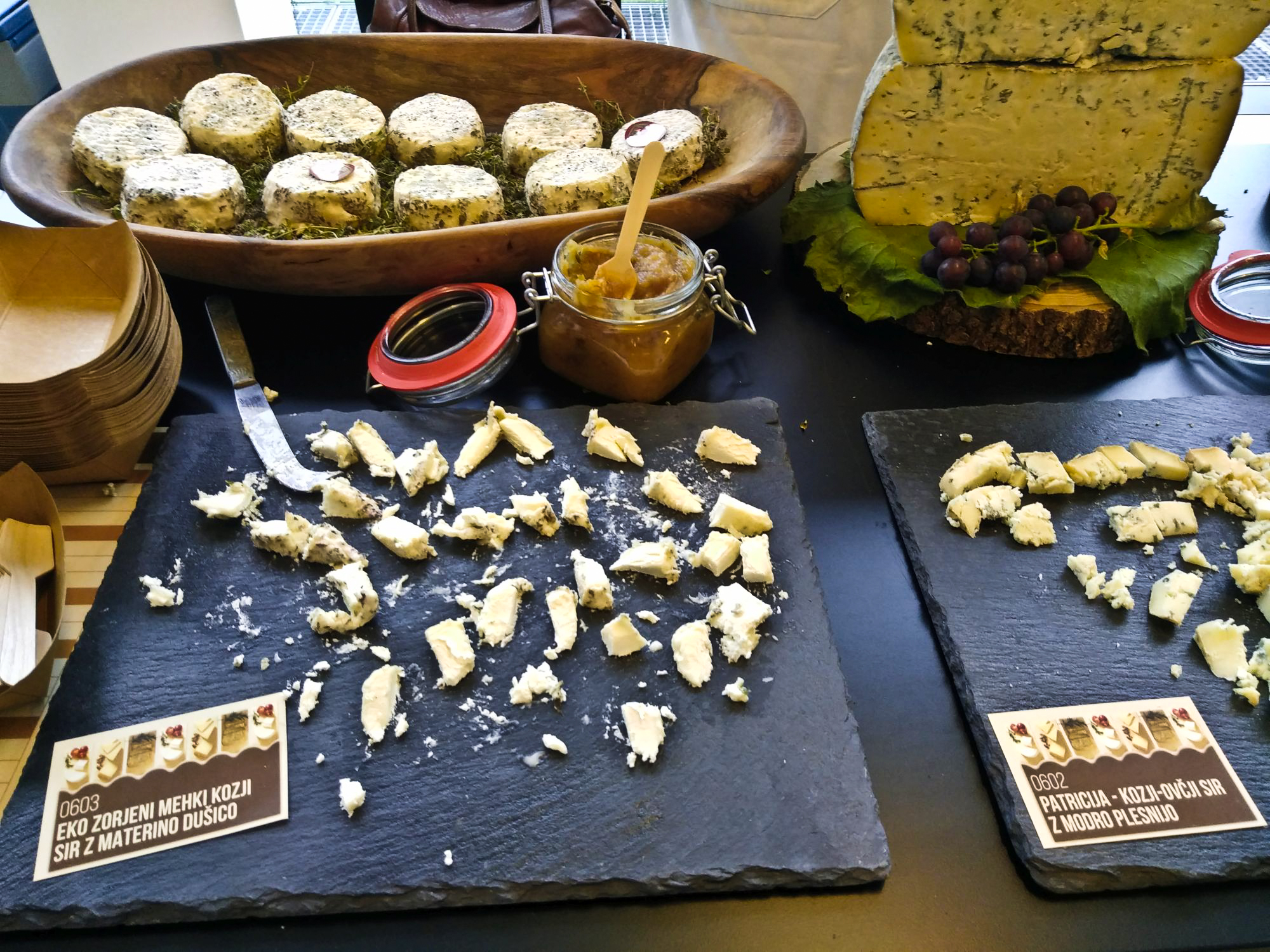 Cheese farm Sirarstvo Orešnik's eco-ripened soft goat cheese with thyme, and goat and sheep cheese with blue mould
