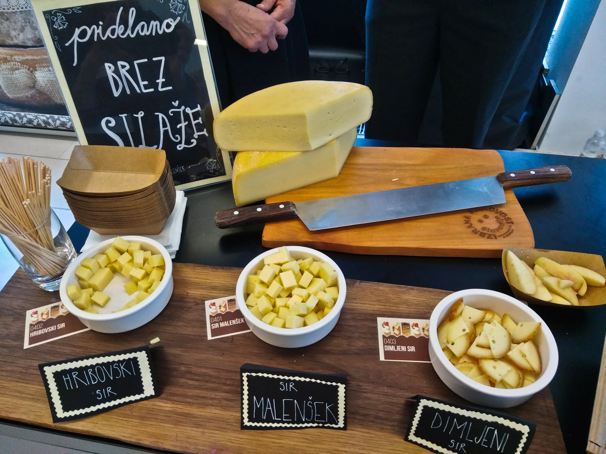 Cheese display at Slovene Cheese Festival