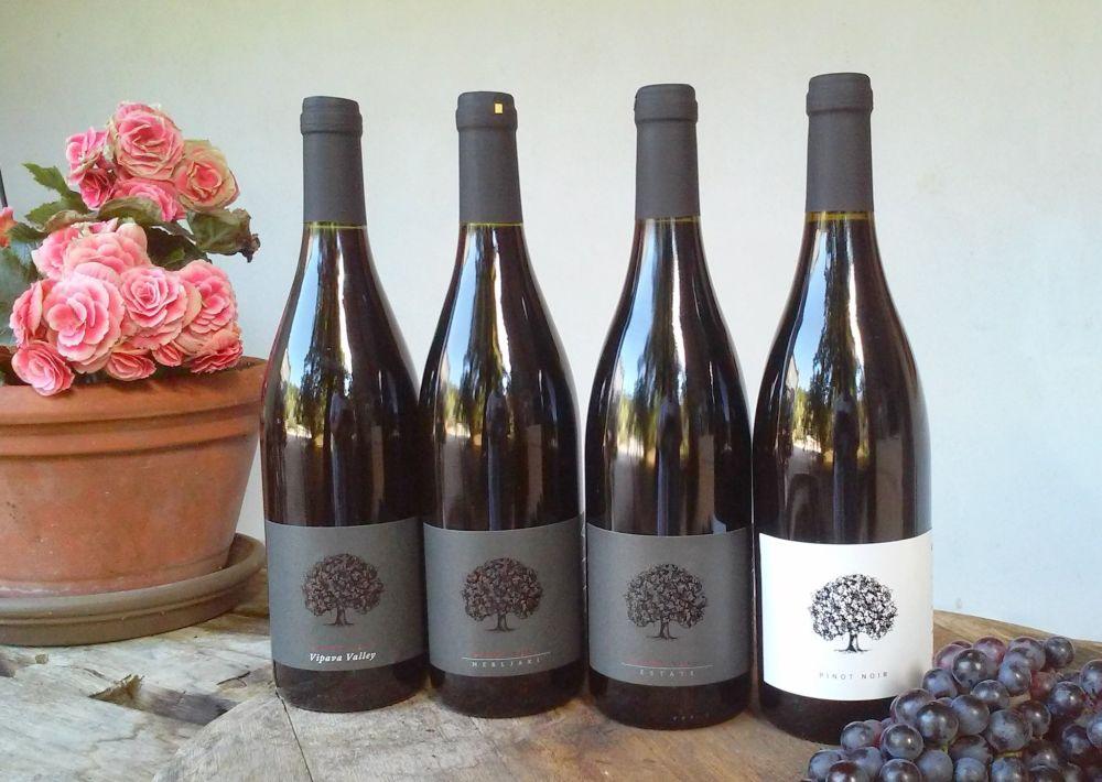 Bottles of wine containing Pinot Noir, at the Modri Les Noir Wine Festival in Idrija, Slovenia