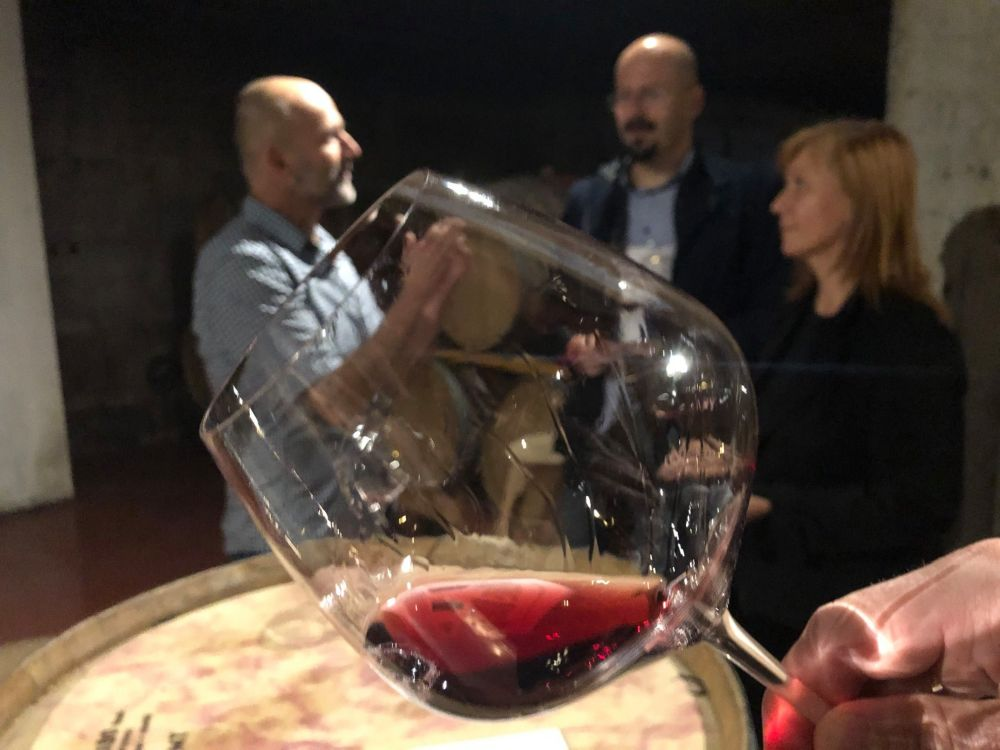 Glass of wine containing Pinot Noir, at the Modri Les Noir Wine Festival in Idrija, Slovenia