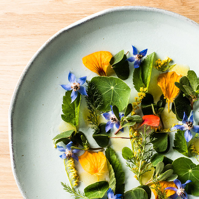 Dish with colourful flowers at Monstera Bistro in Ljubljana