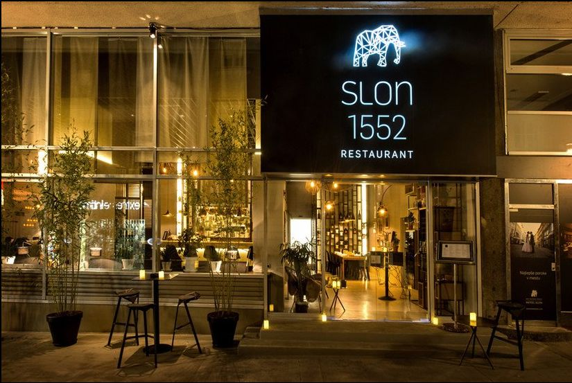Entrance to Slon 1552 Restaurant, Ljubljana