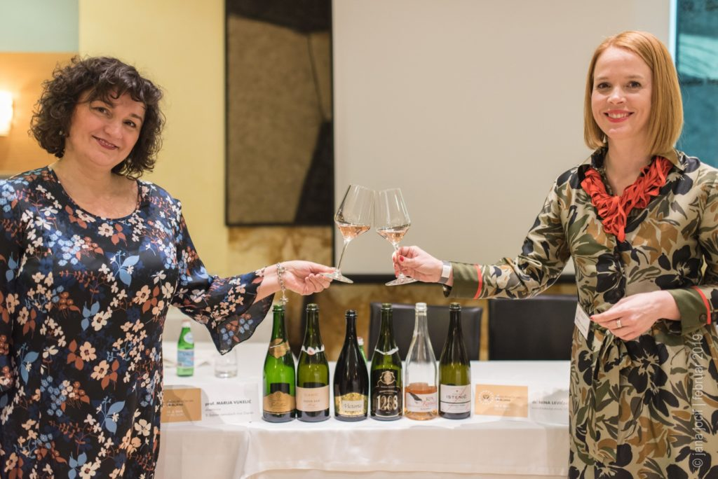 Slovenian sparkling wine festival organiser poses with general manager of Zagreb sparkling wines festival