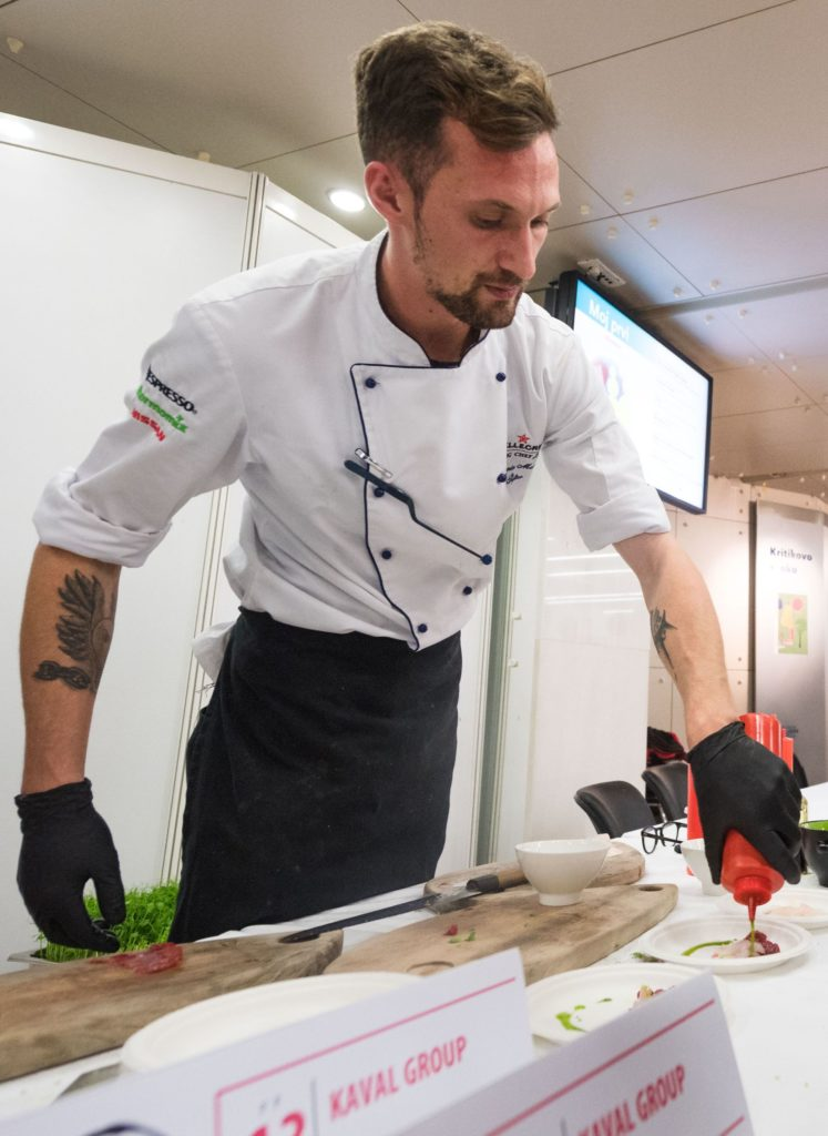 Chef prepares appetisers to pair with wine