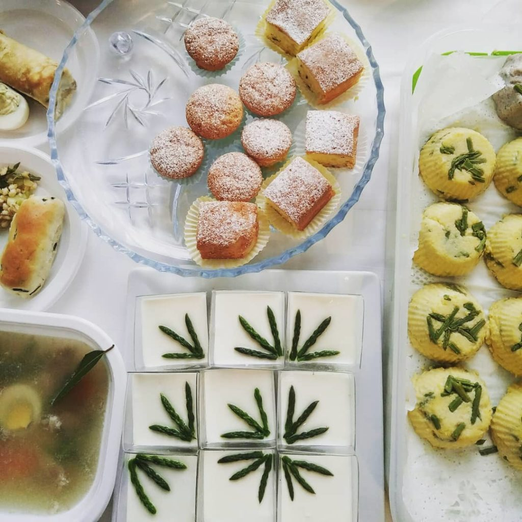 Various food dishes containing asparagus