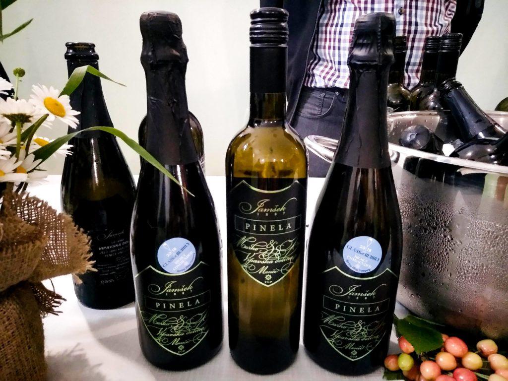 Bottles of white wine on display