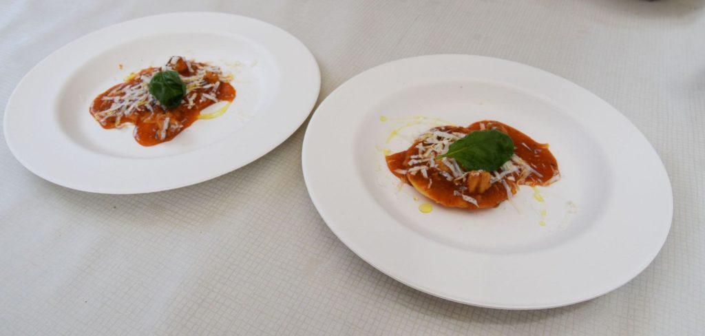 Sea bass ravioli with fish ragu