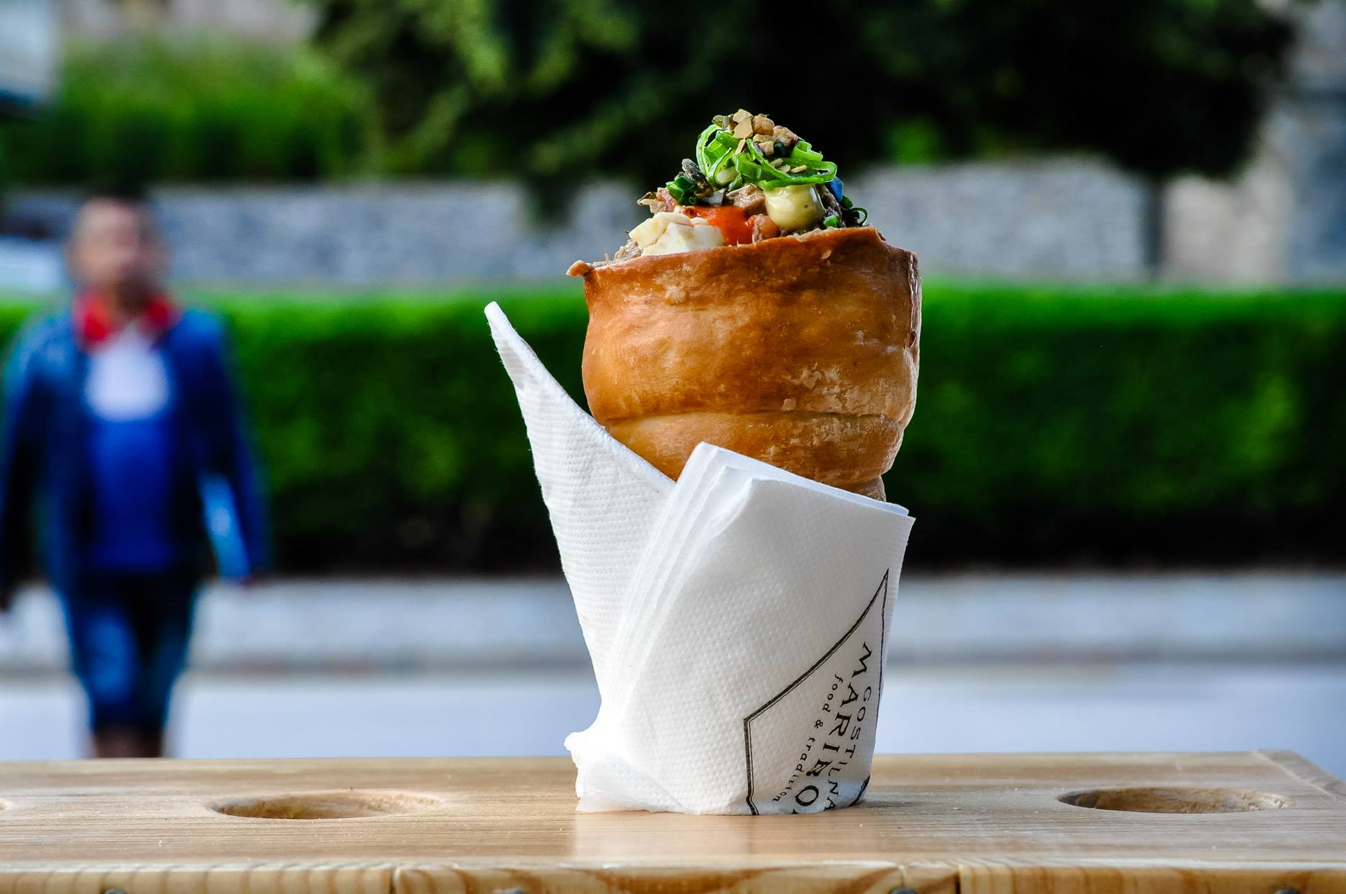 Pepper and buckwheat salad in a pastry cone