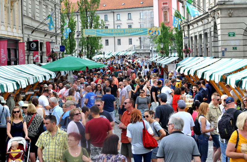 People enjoy Ljubljana wine route festival