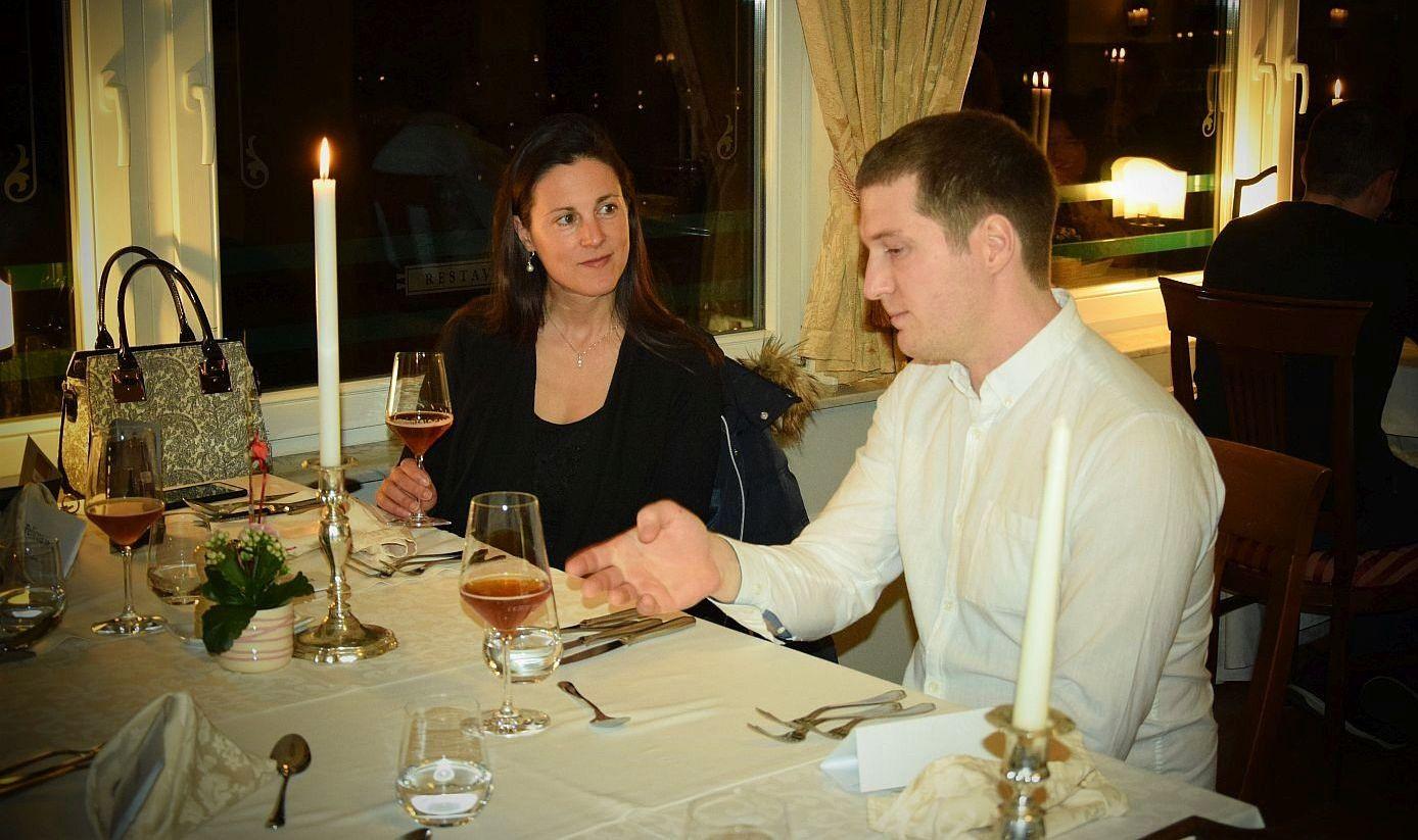 Beer maker explains the details of Wheat Wine Revolution beer to Denise Rejec of Wine Dine Slovenia