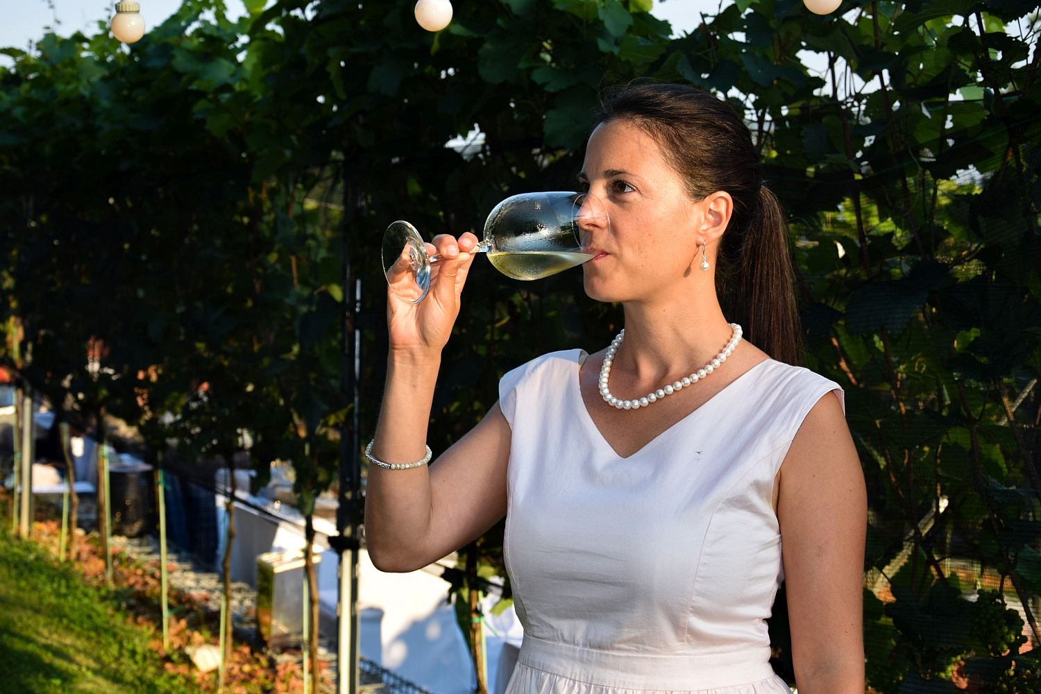 Food blogger Denise Rejec of Wine Dine Slovenia drinks Brut by Puklavec Family Wines at Strelec Restaurant Ljubljana Castle Vineyard dinner