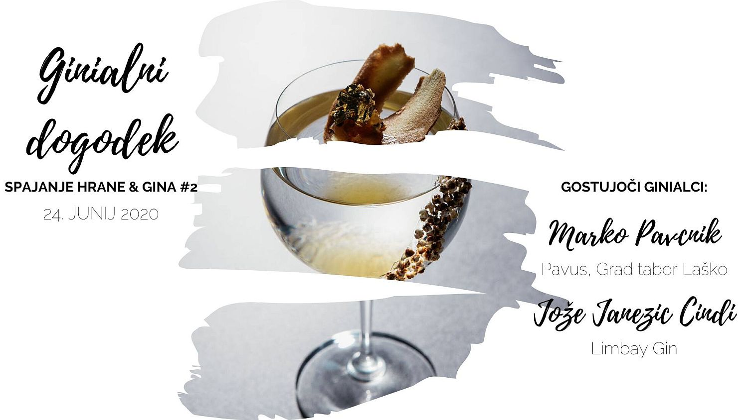 Poster for food and gin pairing event at Restaurant 1906 of Hotel Triglav Bled