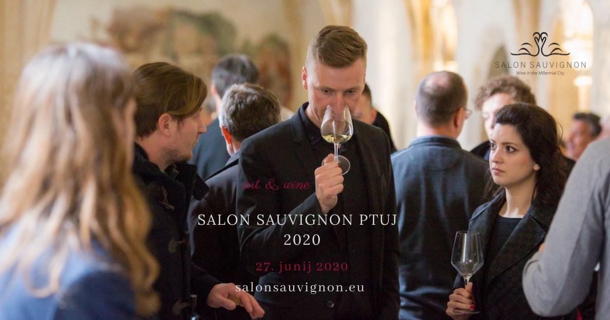 Poster for the Salon Sauvignon Ptuj 2020 wine festival, Ptuj, Slovenia