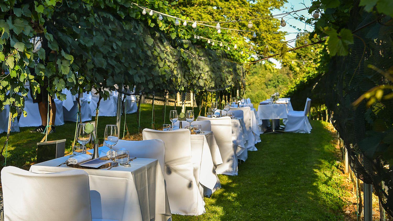 Dinner tables at the Ljubljana Castle Vineyard