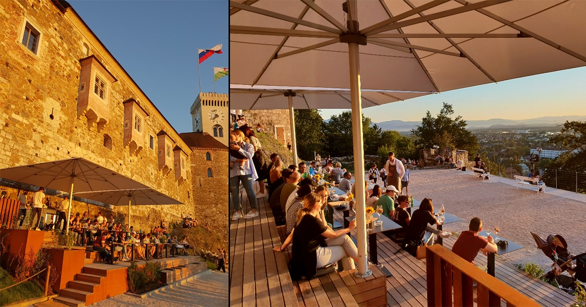 Outdoor terrace at the Ljubljana Castle Wine Bar & Bistro Strelec