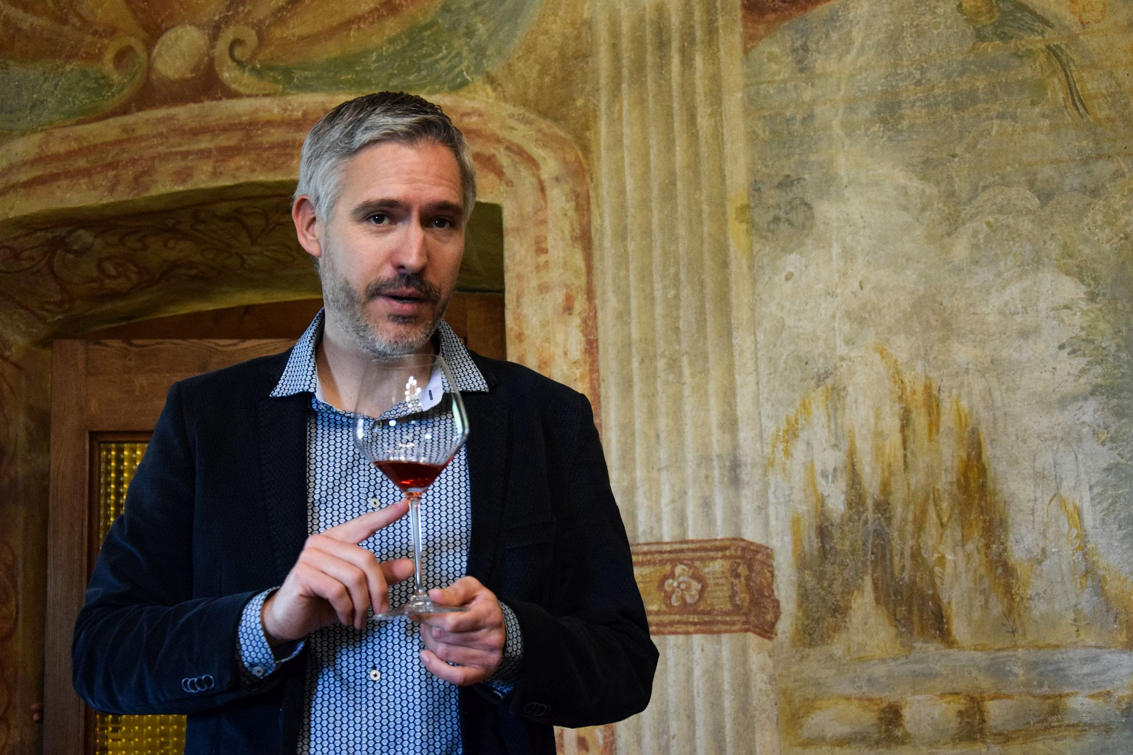 Oenologist & Perfumer Richard Pfister analyses a wine during Modri Les Noirs festival