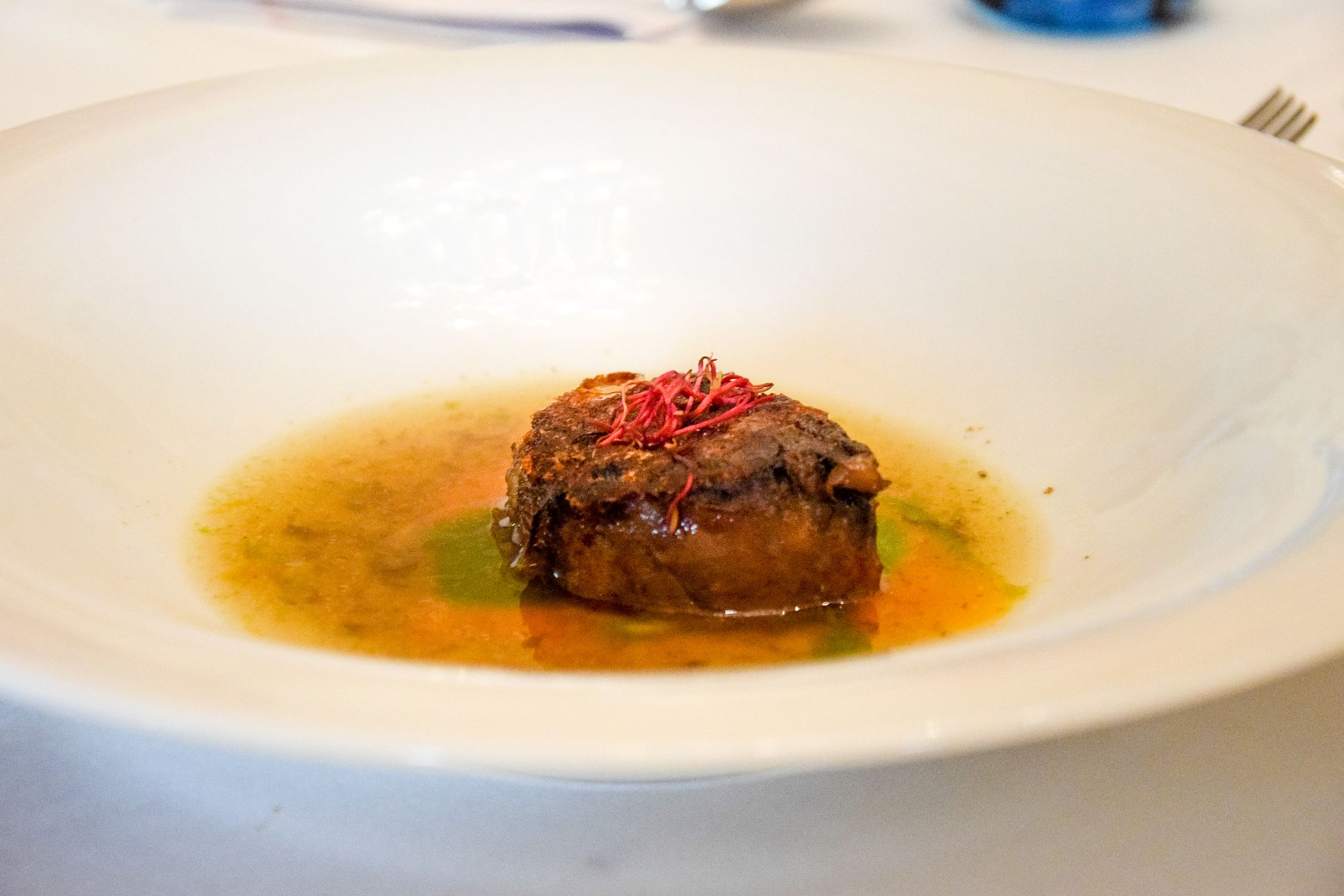 Tomaz Kavcic's beef soup at Modri Les Noirs wine tasting