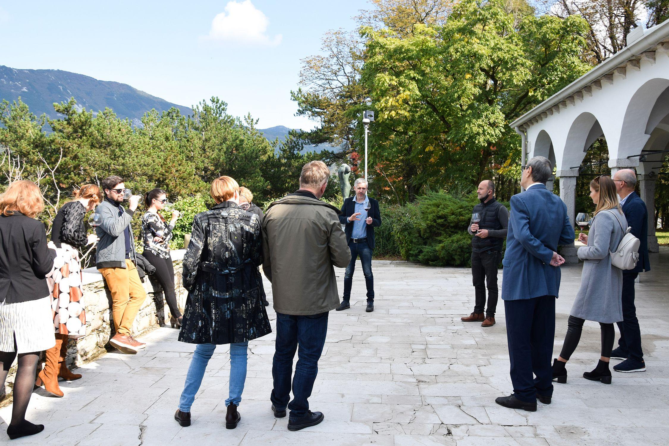 Wine tasting session on Zemono Mansion terrace during Modri Les Noirs festival
