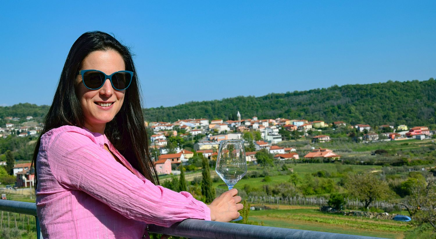 Denise Rejec of Wine Dine Slovenia admires the view from the terrace at Santomas winery