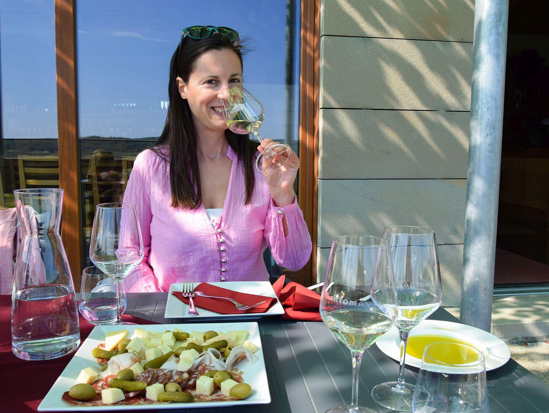 Denise Rejec of Wine Dine Slovenia tasting wine at Santomas Winery