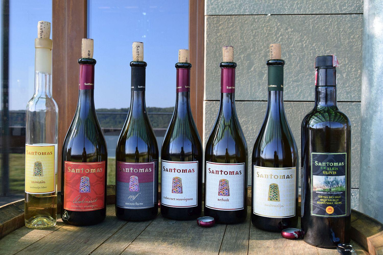 Wines tasted during wine tasting at Santomas