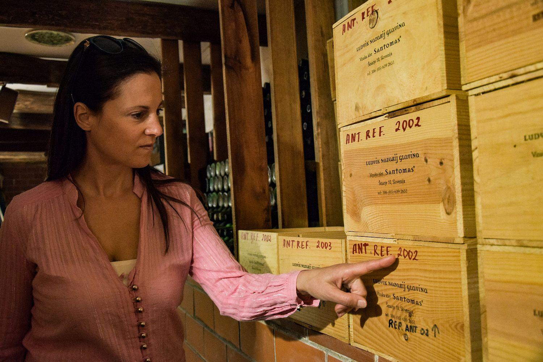 Denise Rejec of Wine Dine Slovenia in the Santomas wine cellar