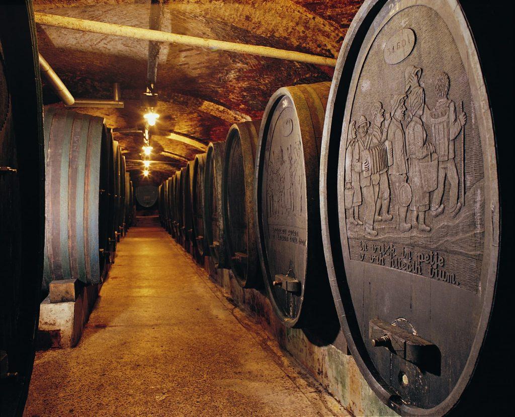 Large wine barrels at Ptuj Wine Cellar