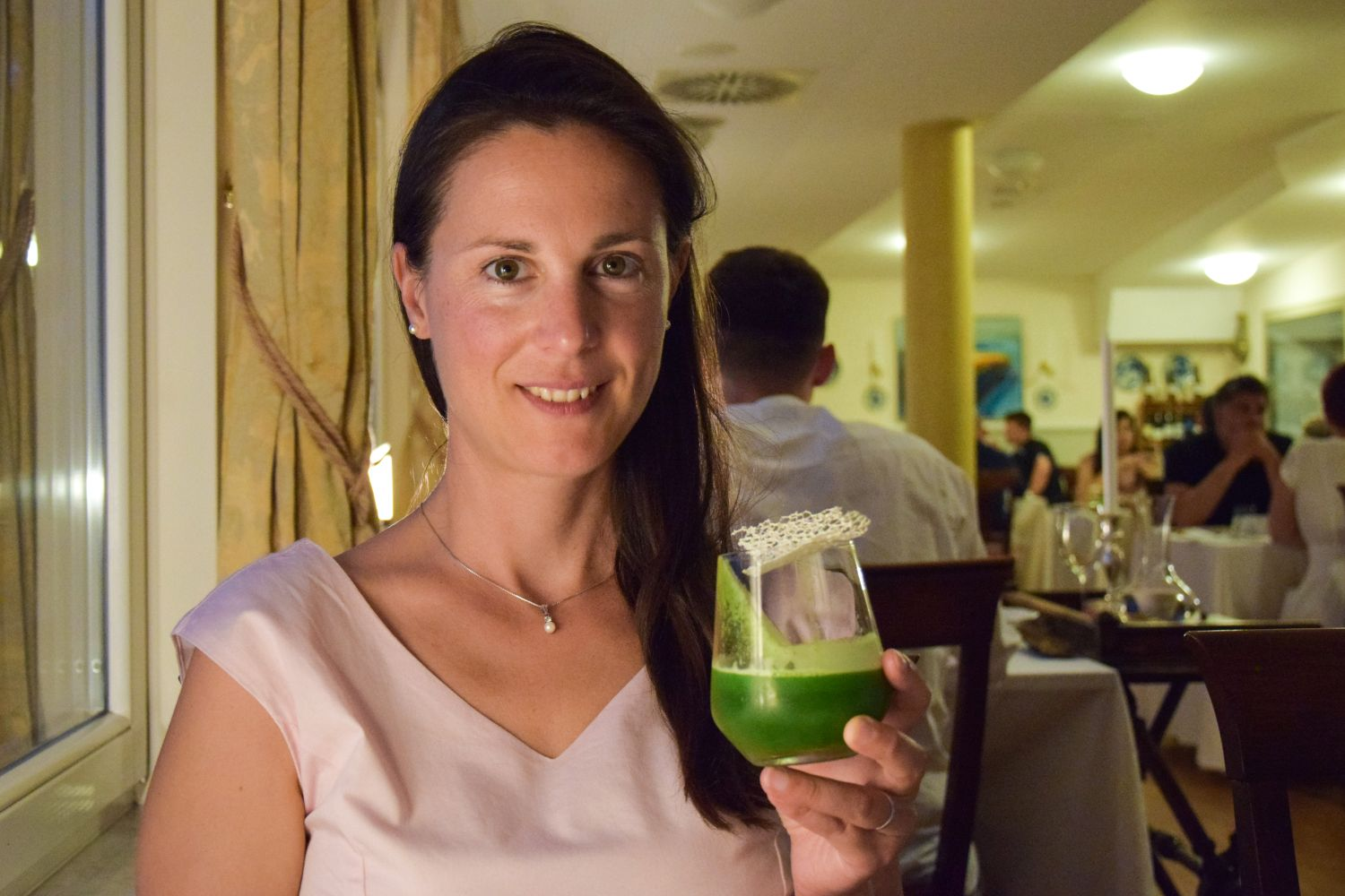 Denise Rejec of Wine Dine Slovenia with G&T Loiblpass at a food and gin pairing at Restaurant 1906 Bled