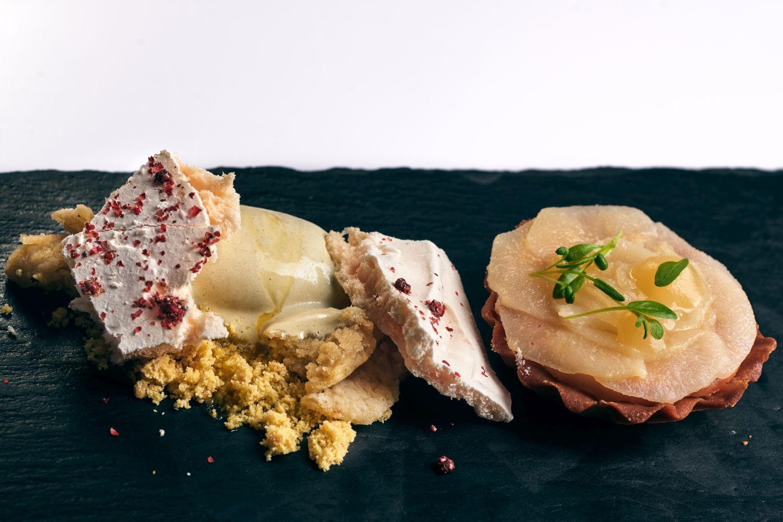 Meringue dessert at Gin & Food Pairing with Karakter Distillery at Restaurant 1906 Hotel Triglav Bled