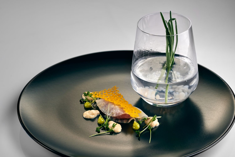 Raw tuna with G&T Hard Rock at Gin & Food Pairing with Karakter Distillery at Restaurant 1906 Hotel Triglav Bled