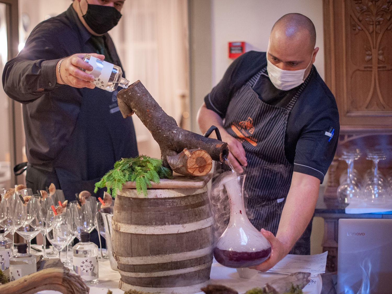Smoked gin at Gin & Food Pairing with Karakter Distillery at Restaurant 1906 Hotel Triglav Bled