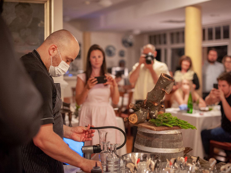Smoker at Gin & Food Pairing with Karakter Distillery at Restaurant 1906 Hotel Triglav Bled