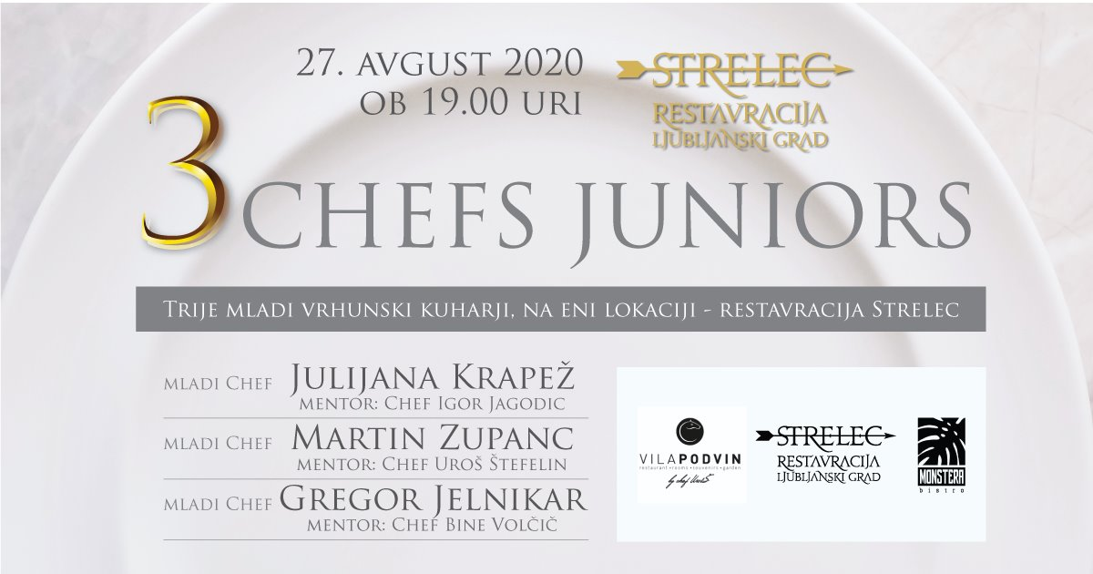 Poster for 3 Chefs Juniors dinner event at Strelec Restaurant